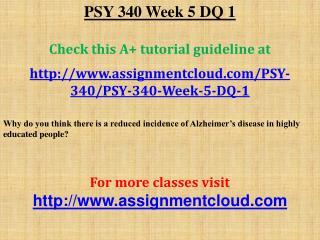 PSY 340 Week 5 DQ 1