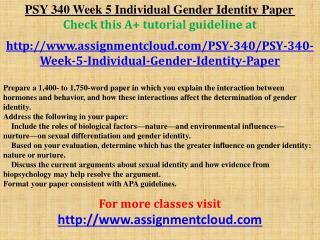 PSY 340 Week 5 Individual Gender Identity Paper