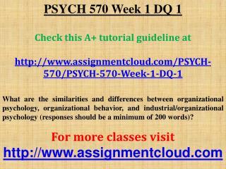 PSYCH 570 Week 1 DQ 1
