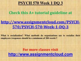 PSYCH 570 Week 1 DQ 3