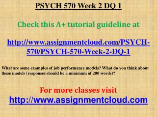 PSYCH 570 Week 2 DQ 1