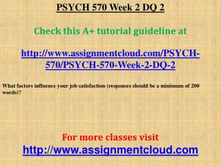 PSYCH 570 Week 2 DQ 2