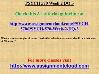 PSYCH 570 Week 2 DQ 3