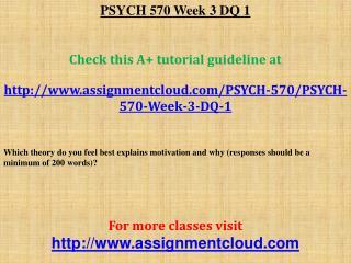 PSYCH 570 Week 3 DQ 1