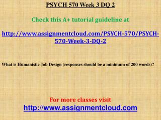PSYCH 570 Week 3 DQ 2