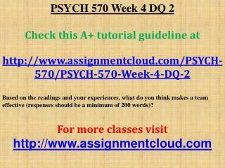 PSYCH 570 Week 4 DQ 2