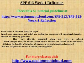 SPE 513 Week 1 Reflection