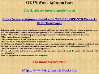 SPE 578 Week 1 Reflection Paper