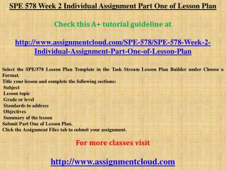 SPE 578 Week 2 Individual Assignment Part One of Lesson Plan