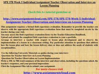 SPE 578 Week 5 Individual Assignment Teacher Observation and
