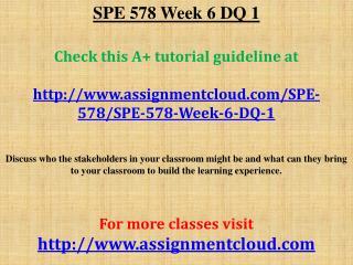 SPE 578 Week 6 DQ 1