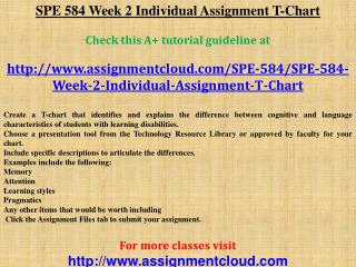 SPE 584 Week 2 Individual Assignment T-Chart