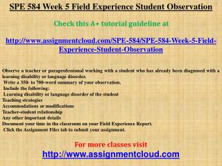 SPE 584 Week 5 Field Experience Student Observation