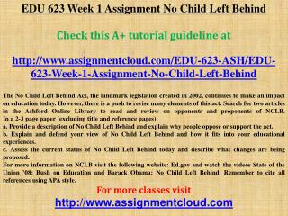 EDU 623 Week 1 Assignment No Child Left Behind