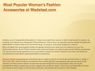 Most popular women's fashion accessories at madelast com