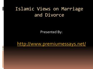 Islamic Views on Marriage and Divorce