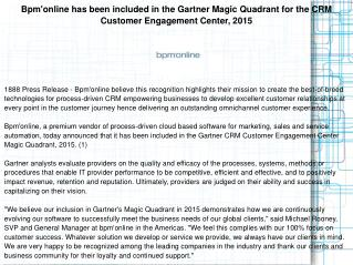 Bpm'online has been included in the Gartner Magic Quadrant