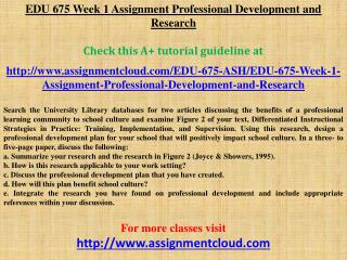 EDU 675 Week 1 Assignment Professional Development and Resea