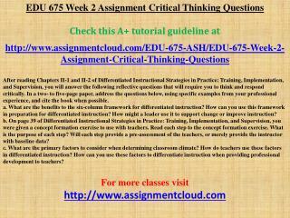 EDU 675 Week 2 Assignment Critical Thinking Questions