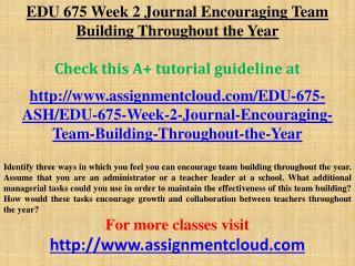 EDU 675 Week 2 Journal Encouraging Team Building Throughout