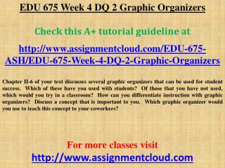 EDU 675 Week 4 DQ 2 Graphic Organizers