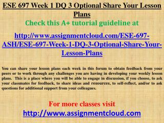 ESE 697 Week 1 DQ 3 Optional Share Your Lesson Plans