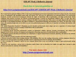 ESE 697 Week 1 Reflective Journal