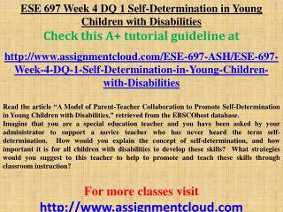 ESE 697 Week 4 DQ 1 Self-Determination in Young Children wit