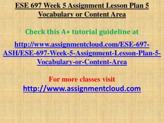 ESE 697 Week 5 Assignment Lesson Plan 5 Vocabulary or Conten