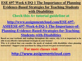 ESE 697 Week 6 DQ 1 The Importance of Planning Evidence-Base