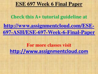 ESE 697 Week 6 Final Paper