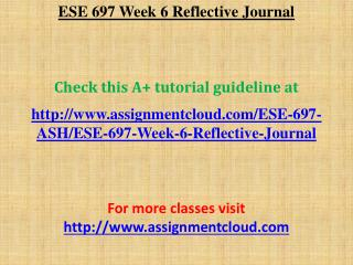 ESE 697 Week 6 Reflective Journal