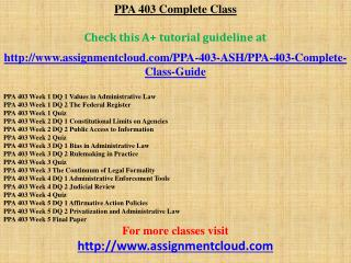 PPA 403 Complete Class