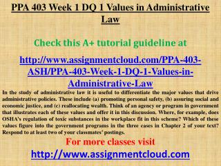 PPA 403 Week 1 DQ 1 Values in Administrative Law