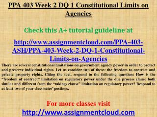 PPA 403 Week 2 DQ 1 Constitutional Limits on Agencies