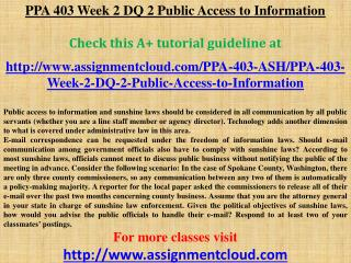 PPA 403 Week 2 DQ 2 Public Access to Information