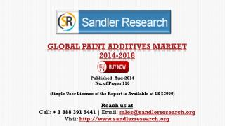 Paint Additives Market - Driver, Challenge and Trend Analysi