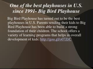 One of the best playhouses in U.S. since 1991- Big Bird Play