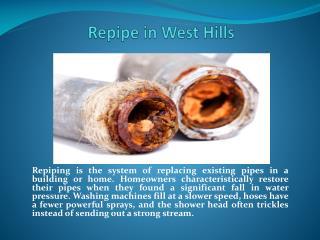 Repipe Service in West Hills