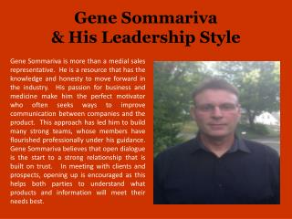 Gene Sommariva & His Leadership Style