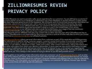 Zillionresumes Review Privacy Policy