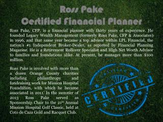 Ross Pake Financial Planner