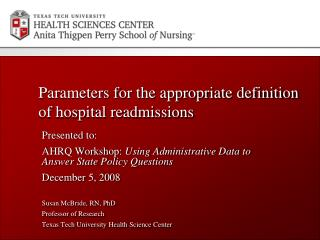Parameters for the appropriate definition of hospital readmissions