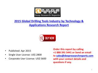 Global Drilling Tools Industry 2015 Capacity Production Rese