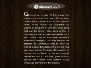 Glimmer lux presentation