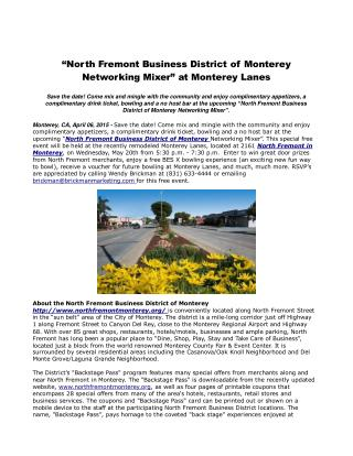 """""""North Fremont Business District of Monterey Networking"""