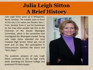 Julia Leigh Sitton A Brief History