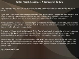 Taylor, Ricci & Associates: A Company of its Own