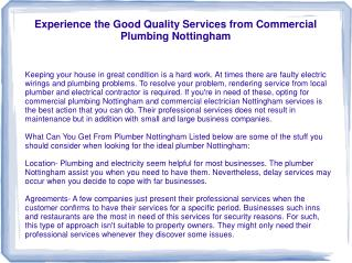 Experience the Good Quality Services from Commercial Plumbin