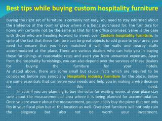 Best tips while buying custom hospitality furniture
